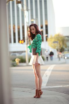 white trumpet skirt + seafoam/mint jumper + leopard clutch