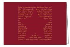 Weihnachtskarte Sternsprache - mehrsprachige Weihnachtsgrüße - Rot - mit Umschlag in Orange