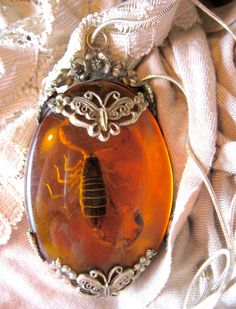 We adore our scorpion jewelry.  Scorpion in Amber Resin Sterling Silver by BrooklynAshleigh, $39.00