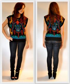 Tribal Graphic Print Sweater Vest Beldoch by MissMagnoliaVintage