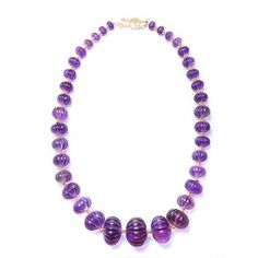 Syna necklace: Limited Edition 18kyg graduated amethyst Lantern necklace  Amethyst 971 cts