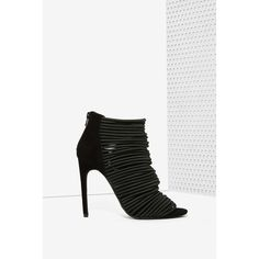 Jeffrey Campbell Lastique Suede Bootie (705 RON) ❤ liked on Polyvore featuring shoes, boots, ankle booties, black, black booties, black bootie, black ankle booties, black peep toe booties and suede booties