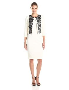a0545e19d4e Danny   Nicole Women s 2 Piece Dress Lace Detail Jacket