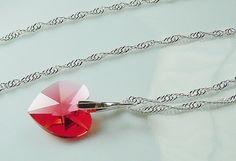 Sweet Swarovski Crystal Heart Necklace on Silver by BestBuyDesigns