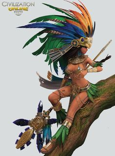 Princess Aztec by GameMeca. Female Character Design, Character Design Inspiration, Character Art, Fantasy Art Women, Fantasy Girl, Art Chicano, Aztec Culture, Aztec Warrior, Aztec Art