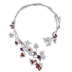'JE M'ATTACHE OU JE MEURS…' necklace, white gold, diamonds, amethysts and rubies by Dior Joaillerie