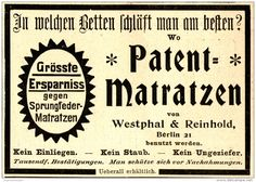 Original-Werbung/ Anzeige 1898 - PATENT - MATRATZEN / WESTPHAL & REINHOLD…