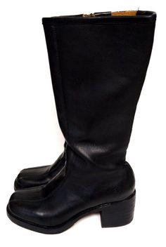 Frye Black Boots Leather Motorcycle Fashion Women's 7.5 D Side Zip Style 77760  #Frye #Motorcycle