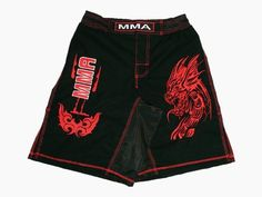 MMA Board Shorts in Rib Stop Cotton with Red Embroidery Size M by Worldorf USA. $14.99. MMA Shorts in ribstop cotton with embroidered logo