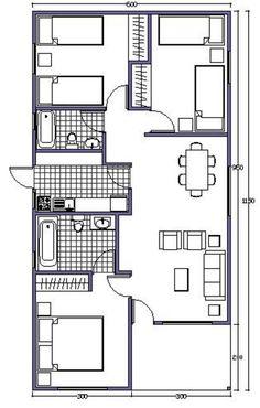 L shaped 50 sqm granny flat plan Model House Plan, My House Plans, Cabin Plans, Small House Plans, House Floor Plans, Small Tiny House, Small House Design, Bungalow Haus Design, Flat Plan