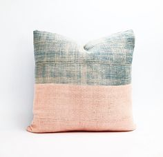 Vintage Faded African Indigo and Peachy Pink Mudcloth Textile Pillow Cover 20x20