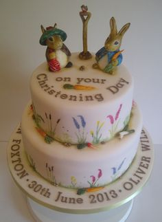 Double tier Beatrix Potter Christening Cake by CakeyCake