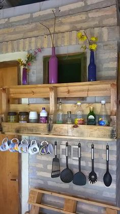 DIY Wall Mounted Pallet Kitchen Shelf Adding a shelving unit to the kitchen wo. DIY Wall Mounted P Pallet Shelves, Kitchen Furniture, Pallet Furniture Bar, Diy Furniture, Wood Pallets, Diy Wall, Wall Mounted Kitchen Shelves, Diy Kitchen, Pallet Designs
