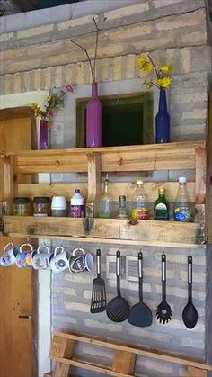 DIY Wall Mounted Pallet Kitchen Shelf | 99 Pallets