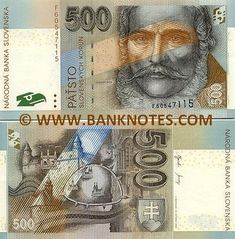 Slovakia 500 Korun Slovenskych 2000 - Front: Ludovit Stur, one of the greatest Slovak personalities of the 19th century, who was known as the father of the idea of Slovak national emancipation and the founder of the Slovak literary language. Back: Bratislava Castle together with the Baroque St. Michael´s and a part of the Gothic tower of Klarisky Church. Bratislava, St Michael, How To Get Rich, Hungary, 19th Century, Coins, Father, Retro, Coin Collecting