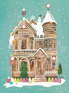 Gingerbread Palace by Katie Daisy Holiday Wall Art Christmas Painting, winter Christmas Paintings, Christmas Art, Christmas And New Year, Xmas, Christmas Gingerbread, Gingerbread Houses, Christmas Images, Illustration Noel, Illustrations