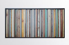 Reclaimed Wood Wall Art - Savannah - Wood Sculpture from Repurposed Reclaimed Wood - Stripes in Blues, Tans, and Browns