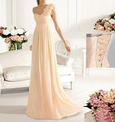 one shoulder bridesmaid dress, champagne bridesmaid dress, long prom dress, bridesmaid dress online, wedding bridesmaid dress, RE036 Inspirations | Bride & Groom