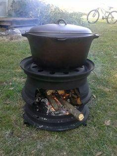 Cook top: repurposed hubcaps