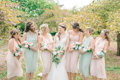 Pastel Wedding With A Epic Dessert Table & Sweet Bar Bride In Preloved Wedding Dress With Images By Sarah-Jane Ethan & Matt Ethan Photography Spring Wedding Decorations, Spring Wedding Colors, Wedding Pastel, Wedding Colours, Pastel Bridesmaids, Bridesmaid Dresses, Photomontage, Plant Wedding Favors, Preloved Wedding Dresses