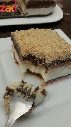 A light cold dessert for a mixture of the simplest ingredients, making it your favorite … – Pastry World Arabic Dessert, Arabic Sweets, Cold Desserts, Easy Desserts, Sweets Recipes, Cookie Recipes, Lebanese Desserts, Make It Easy, Tunisian Food