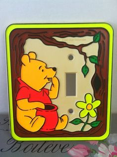 Vtg Switchplate Winnie The Pooh Hunny Pot Single Toggle Light Switch Cover