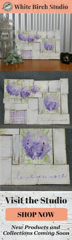 Are you looking for a unique, shabby farmhouse painting? This hand painted piece would be a great, personal touch to your Spring and Summer decor at home or at your cottage.   Dimensions are 19.5 inches wide x 12 inches high  Love you more, Purple hydrangea artwork, farmhouse white washed art, pallet wall art, wood collage, spring flower art