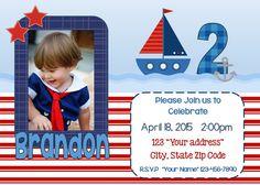 Boys Personalized Sailboat Digital Birthday invitation by DoodlesDotsnDimples Birthday Party Hats, Sailboat, Birthday Invitations, Rsvp, Names, Digital, Boys, Handmade Gifts, Sailing Boat