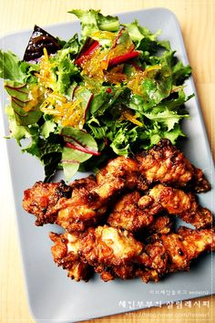 Korean Food, Tandoori Chicken, Chicken Wings, Yummy Food, Meat, Healthy, Ethnic Recipes, Kitchen, Kitchens