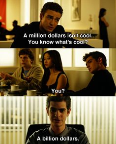 A billion dollars -- Justin Timberlake, Andrew Garfield, Brenda Song and Jesse Eisenberg in The Social Network