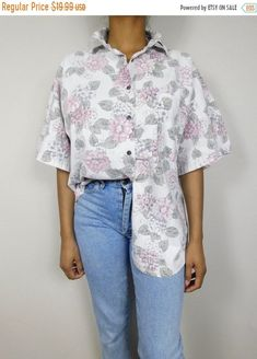 b2e0367e SPRING SALE Vintage 80s Kyoto Kasuals White Pink Floral Flower Leaf Print  Pastel Shirt Collared Button Down Top Blouse Sz Xl Plus Si