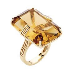 gold ring with Greek key design and emerald-cut citrine by Versace Greek Jewelry, Jewelry Rings, Jewelry Accessories, Jewelry Design, Women Jewelry, Fashion Jewelry, Versace Jewelry, Stylish Rings, Classic Style Women