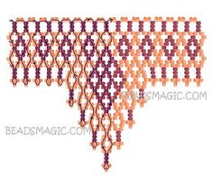 Free pattern for necklace Brulee Diy Necklace Patterns, Bead Loom Patterns, Beading Patterns, Beaded Jewelry Designs, Seed Bead Jewelry, Beading Techniques, Beading Tutorials, Bead Loom Bracelets, Beads And Wire