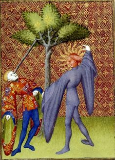 Christine de Pizan and the Book of the Queen. Detail of a miniature of Apollo killing Ganymede by piercing his eye, from 'L'Épître Othéa', Harley MS 4431, f. 119v.