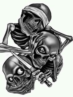 fd5468ce3505b I see nor hear nor say Evil Tattoos, Skull Tattoos, Skull Tattoo Design,