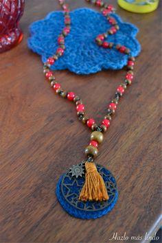 Collar con circulo tejido y chufo #Crochet #Collar #Accesorios #Moda