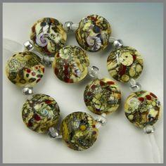 """fossil"" lampwork lentil beads"
