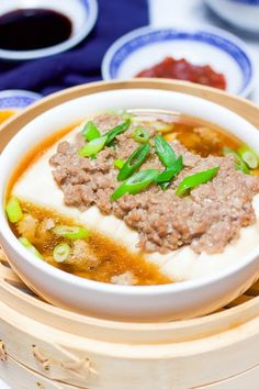 Healthy Steamed Tofu With Ground Meat yummy Christmas and New Year Cake and Cuisine Recipes dinner recipe Healthy Chinese Recipes, Asian Recipes, Healthy Recipes, Japanese Tofu Recipes, Japanese Soup, Asian Foods, Easy Recipes, Steam Recipes, Pork Recipes