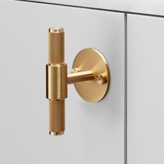 Solid metal Buster + Punch Hardware includes knobs and pulls in brass, smoked bronze, steel, and black finishes. For stylish, edgy kitchens and baths. Kitchen Hardware, Kitchen Doors, Home Hardware, Brass Hardware, Cabinet Hardware, Kitchen Units, Kitchen Cupboards, Kitchen Island, Knobs And Handles
