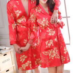 Peignoir de soie sexy rouge pour homme et femme