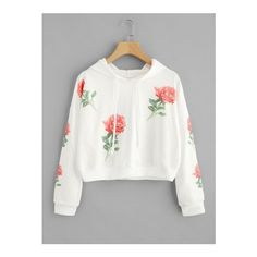 Capucha con estampado de rosa al azar-Spanish SheIn(Sheinside) Sitio... ❤ liked on Polyvore featuring tops and white top