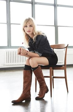 Look we Love: #HUE over-the-knee boots liners peek out from these knee-highs boots