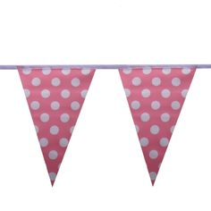 Pink & White Polka Dot Bunting. 100%25 polyester, 10m length with 24 flags each measuring 20cm x 30cm. A versatile & fun bunting for both indoor & outdoor use