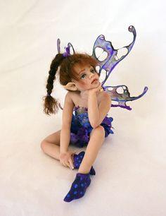 Kate Hiddleston OOAK Fairy Baby Fairy, Love Fairy, Magical Creatures, Fantasy Creatures, Polymer Clay Fairy, Enchanted Doll, Kobold, Fairy Pictures, Clay Fairies