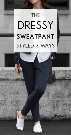 3 ways to style the @encircled Dressy Sweatpant... an athleisure essential for your fall capsule wardrobe + packing light.