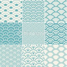 Illustration of seamless ocean wave pattern vector art, clipart and stock vectors. Japanese Patterns, Japanese Prints, Japanese Design, Japanese Art, Japanese Style, Boho Pattern, Wave Pattern, Surface Pattern Design, Clouds Pattern