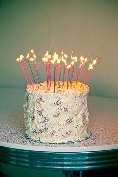 Cake Celebration Cakes Long Candles Sparkle Glitter Birthday Sparklers