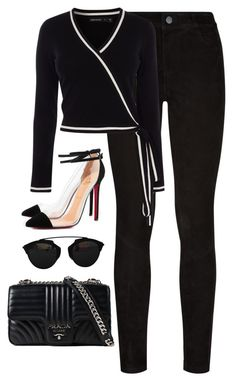 """Untitled #4663"" by magsmccray on Polyvore featuring Paige Denim, Karen Millen, Christian Louboutin, Christian Dior and Prada"