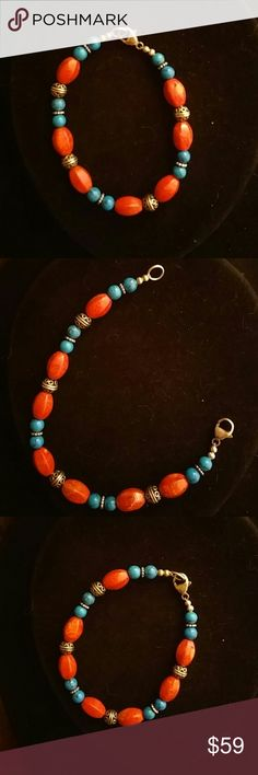 925 S - Silver Bracelet, Spacers, Beautiful Color Length approx 6.5 to 7 inches  Custom Bracelet.  - ASSORTMENT OF POLIZHED stones 925 s Beads and spacers. Very colorful and versatile - can dress up or down? Clasp and on both ends is 925S  More descriptive info. I.e., exact weight length etc.. to be provided in 24 48 hours Estate Jewelry Bracelets