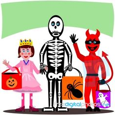 A cute trick or treat illustration, by debspoons, available to download for free or purchase in high resolution at FreeDigitalPhotos.net